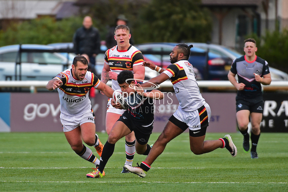 London Broncos scrum half William Barthau (7) makes a break and tackled by Bradford Bulls right wing Iliess Macani (5) during the Kingstone Press Championship match between London Broncos and Bradford Bulls at Trailfinders Sports Club, Vallis Way, United Kingdom on 5 March 2017. Photo by Jon Bromley.
