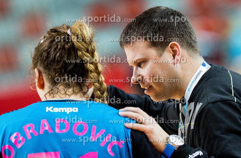 Marija Obradovic and Uros Bregar, head coach of RK Krim during 2nd Leg handball match between RK Krim Mercator and HC Lada Togliatti (ROU) in Semifinal of Women Cup Winners' Cup 2015/16, on April 9, 2016 in Arena Kodeljevo, Ljubljana, Slovenia. Photo by Vid Ponikvar / Sportida