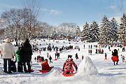 People snow sledding in Central Park in New York City.<br />