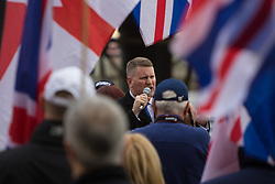 London, April 1st 2017. Leader of Britain First Paul Golding addresses his 150-strong crowd as protesters from nationalist and anti-Islamic group Britain First demonstrate in London following the Westminster terror attack of March 22nd.