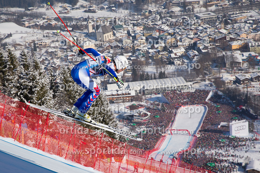 26.01.2013, Streif, Kitzbuehel, AUT, FIS Weltcup Ski Alpin, Abfahrt, Herren, im Bild Johan Clarey (FRA) // Johan Clarey of France in action during mens Downhill of the FIS Ski Alpine World Cup at the Streif course, Kitzbuehel, Austria on 2013/01/26. EXPA Pictures © 2013, PhotoCredit: EXPA/ Johann Groder