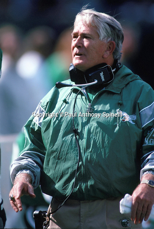 Philadelphia Eagles defensive coordinator Bud Carson looks on from the sideline during the NFL football game against the New Orleans Saints on Oct. 13, 1991 in Philadelphia. The Saints won the game 13-6. (©Paul Anthony Spinelli)