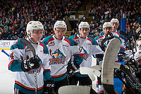 KELOWNA, CANADA - FEBRUARY 18: Kyle Topping #24, Erik Gardiner #12, Jack Cowell #8, Devante Stephens #21 and Braydyn Chizen #22 of the Kelowna Rockets stand at the bench during a time out against the Prince George Cougars on February 18, 2017 at Prospera Place in Kelowna, British Columbia, Canada.  (Photo by Marissa Baecker/Shoot the Breeze)  *** Local Caption ***