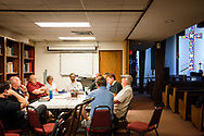 Local pastors, members of LCMS Communications and LCMS Disaster Response, along with disaster representatives from the LCMS Texas District, strategize during a meeting together following Hurricane Harvey on Thursday, Aug. 31, 2017, at Mount Olive Lutheran Church, Corpus Christi,  Texas. LCMS Communications/Erik M. Lunsford