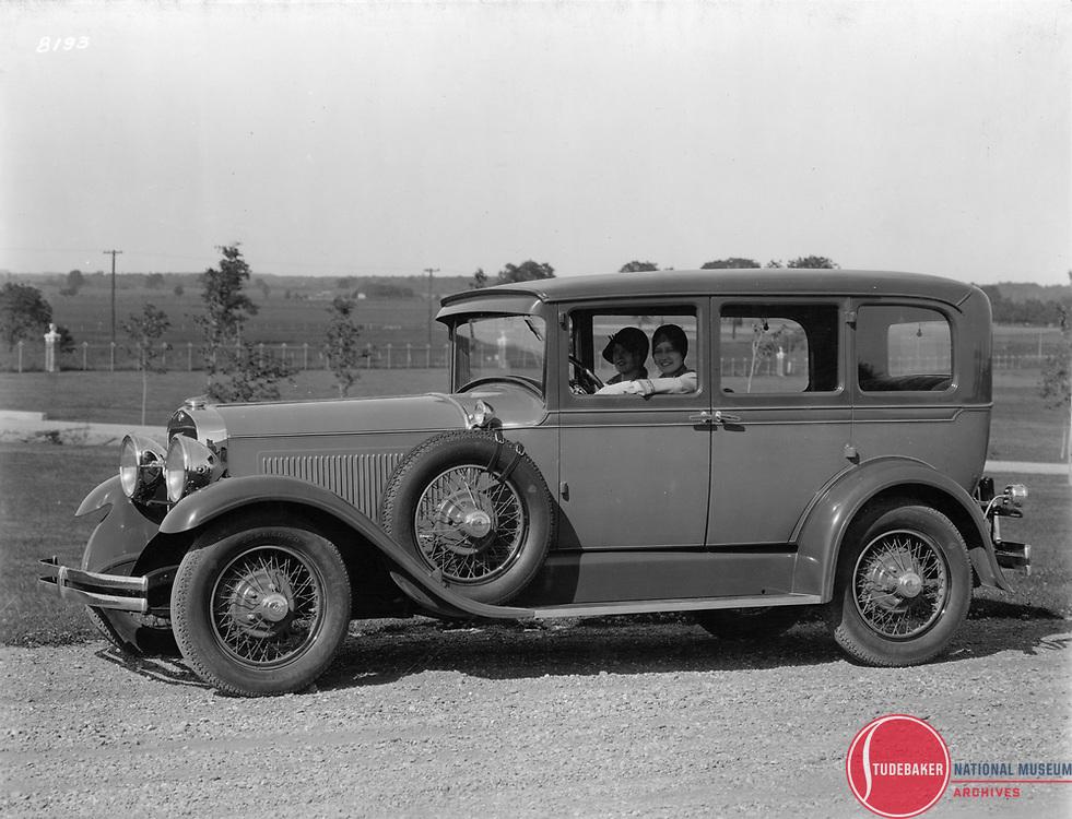 1929 Studebaker President Five Passenger Sedan.  This image was taken at Studebaker's Proving Ground.