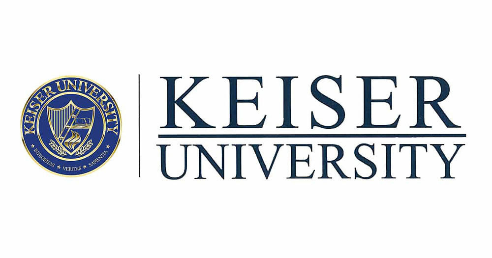 The logo for Keiser University in Ft Lauderdale, Florida.