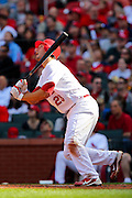 17 April 2010:St. Louis Cardinals third baseman David Freese (23) yells in frustration after hitting a pop fly during Saturday's game against the New York Mets at Busch Stadium in St. Louis, Missouri. The Game would go 20 innings, with the Mets winning 2-1.