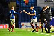 Substitution - Andy Cannon (14) of Portsmouth is replaced by Gareth Evans (26) of Portsmouth during the EFL Sky Bet League 1 match between Portsmouth and Ipswich Town at Fratton Park, Portsmouth, England on 21 December 2019.