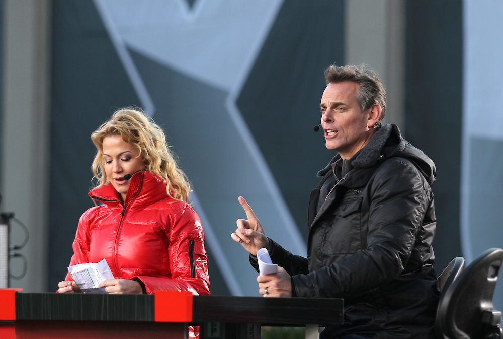 Colin Cowherd and Michelle Beadle co-hosts of SportsNation live in Indianapolis, Ind. January 30..Photo by Chris Bergin