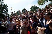 June 12, 2010 - Washington, District of Columbia, U.S., - World Cup fever came to the Nation's Capital as thousands of futbal fans showed up for Saturday's  three FIFA World Cup matches that were shown on two large screens in Dupont Circle. (Credit Image: © Pete Marovich/ZUMA Press)