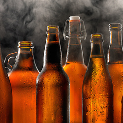 Beer Bottles with Smoke