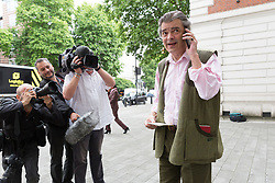 "© Licensed to London News Pictures. 13/07/2017. London, UK. RHODRI PHILIPPS, the 4th Viscount St Davids, arrives at Westminster Magistrates Court in London for sentencing. Philipps was convicted of two counts of sending menacing messages to Brexit campaigner, Gina Miller on a public electronic communications network. He posted: ""£5,000 for the first person to 'accidentally' run over this bloody troublesome first generation immigrant"" and described her as a ""boat jumper"".  Photo credit: Vickie Flores/LNP"