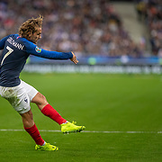 PARIS, FRANCE - September 10:  Antoine Griezmann #7 of France shoots during the France V Andorra, UEFA European Championship 2020 Qualifying match at Stade de France on September 10th 2019 in Paris, France (Photo by Tim Clayton/Corbis via Getty Images)