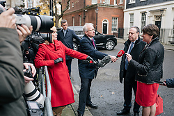 © Licensed to London News Pictures. 21/11/2017. London, UK. DUP Leader ARLENE FOSTER (R) and DUP MP for North Belfast NIGEL DODDS (2-R) speak to the media outside 10 Downing Street after meeting with Prime Minister Theresa May. Photo credit: Rob Pinney/LNP