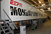 An television broadcasting truck sports an ESPN Monday Night Football sign and NFL logo prior to the Dallas Cowboys NFL week 7 football game against the New York Giants on Monday, October 25, 2010 in Arlington, Texas. The Giants won the game 41-35. (©Paul Anthony Spinelli)