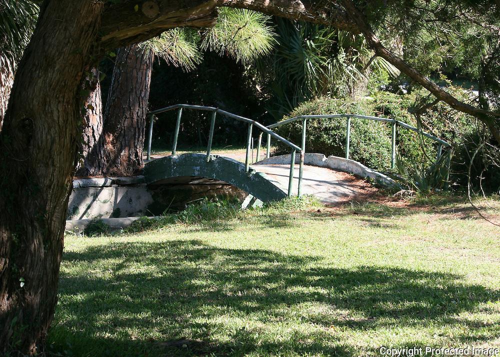 An ancient walk bridge over a canal on Jekyll Island.