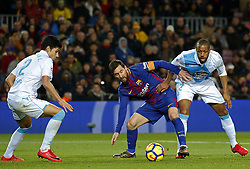 December 17, 2017 - Barcelona, Catalonia, Spain - Juanfran Moreno, Leo Messi and Sidnei during the La Liga match between FC Barcelona v Real Club Deportivo de La Coruna, in Barcelona, on December 17, 2017. (Credit Image: © Joan Valls/NurPhoto via ZUMA Press)