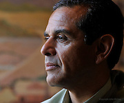 Mayor Antonio Villaraigosa during an interview in his office at City Hall, 5 days after he broke his elbow in a bicycle accident. Los Angeles. CA 07/23/2010 (John McCoy/Staff Photographer).