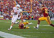 October 01, 2011: Texas Longhorns wide receiver Jaxon Shipley (8) tries to get around Iowa State Cyclones linebacker A.J. Klein (47) and Iowa State Cyclones defensive back Ter'Ran Benton (22) during the first half of the game between the Iowa State Cyclones and the Texas Longhorns at Jack Trice Stadium in Ames, Iowa on Saturday, October 1, 2011. Texas defeated Iowa State 37-14.