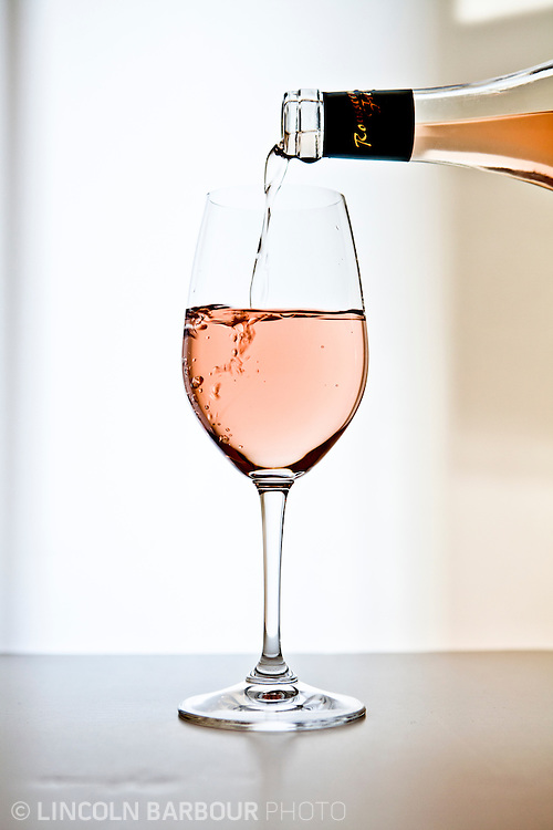 A rose is poured at Pour Wine Bar in Portland, OR