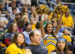 A West Virginia cheerleader cheers during a game against the Oklahoma Sooners during the second half at the WVU Coliseum.
