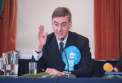 © Licensed to London News Pictures. 05/12/2019. Midsomer Norton, North East Somerset, UK. General Election 2019; JACOB REES-MOGG makes an appearance at hustings as the Conservative candidate for the seat of North East Somerset in Midsomer Norton Town Hall. Rees-Mogg has kept away from the media for much of the general election campaign following his remarks about the Grenfell Tower disaster last month. Photo credit: Simon Chapman/LNP.