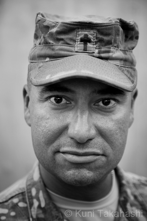 Chaplain CPT Cesar Diaz, 38, of Willamina, Oregon.Spader Battalion Chaplin 1/26 Infantry.at COP Sabari in Khost, Afghanistan on Aug 8, 2011.(Photo by Kuni Takahashi)
