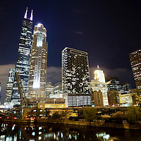 West Chicago Loop at Night with Willis Tower (formerly Sears Tower), Chicago River, and Congress Parkway bridge.