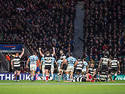 Twickenham, United Kingdom, Saturday, 1st December, 2018, RFU, Rugby, Stadium, England, during the Killik Cup match at Twickenham, Raises Arms' from the  Baa-Barrs, after winning the game in the closing minutes of the Baa-Baas vs Argentina, © Peter Spurrier