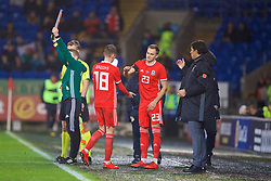 CARDIFF, WALES - Tuesday, November 14, 2017: Wales' substitute Ryan Hedges replaces David Brooks during the international friendly match between Wales and Panama at the Cardiff City Stadium. (Pic by David Rawcliffe/Propaganda)