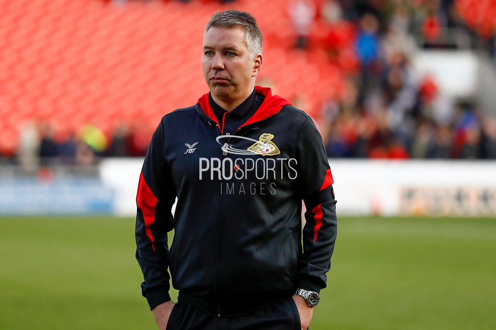 A disconsolate Doncaster Rovers Manager Darren Ferguson after conceding a last minute goal to make the score 1-1 during the EFL Sky Bet League 1 match between Doncaster Rovers and Rotherham United at the Keepmoat Stadium, Doncaster, England on 11 November 2017. Photo by Simon Davies.