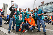 Miami Dolphins fans outside Wembley during the Miami Dolphins vs New Orleans Saints International series match at Wembley Stadium, London, England on 1 October 2017. Photo by Jason Brown.