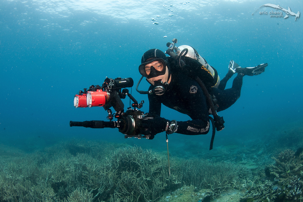 """Underwater with a Canon 50D housed in an INON X2 housing and Underwater Micro Semi-Fisheye Relay Lens UFL-MR130 EFS60 (A.K.A. the """"insect eye"""" lens). Lights: INON S2000 strobes and Fisheye LED lights. Photo by Frank Baensch."""