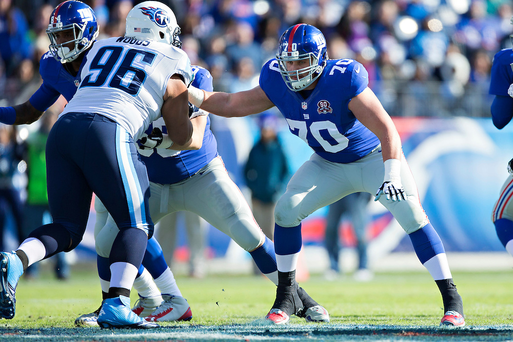 NASHVILLE, TN - DECEMBER 7:  Weston Richburg #70 of the New York Giants blocks during the first quarter of a game against the Tennessee Titans at LP Field on December 7, 2014 in Nashville, Tennessee.  The Giants defeated the Titans 36-7.  (Photo by Wesley Hitt/Getty Images) *** Local Caption *** Weston Richburg
