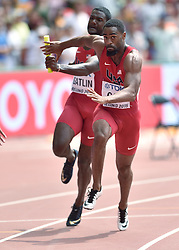 29-08-2015 CHN: IAAF World Championships Athletics day 7, Beijing<br /> USA  4 x 100 m Men: Justin Gatlin and Tyson Gay Photo by Ronald Hoogendoorn / Sportida