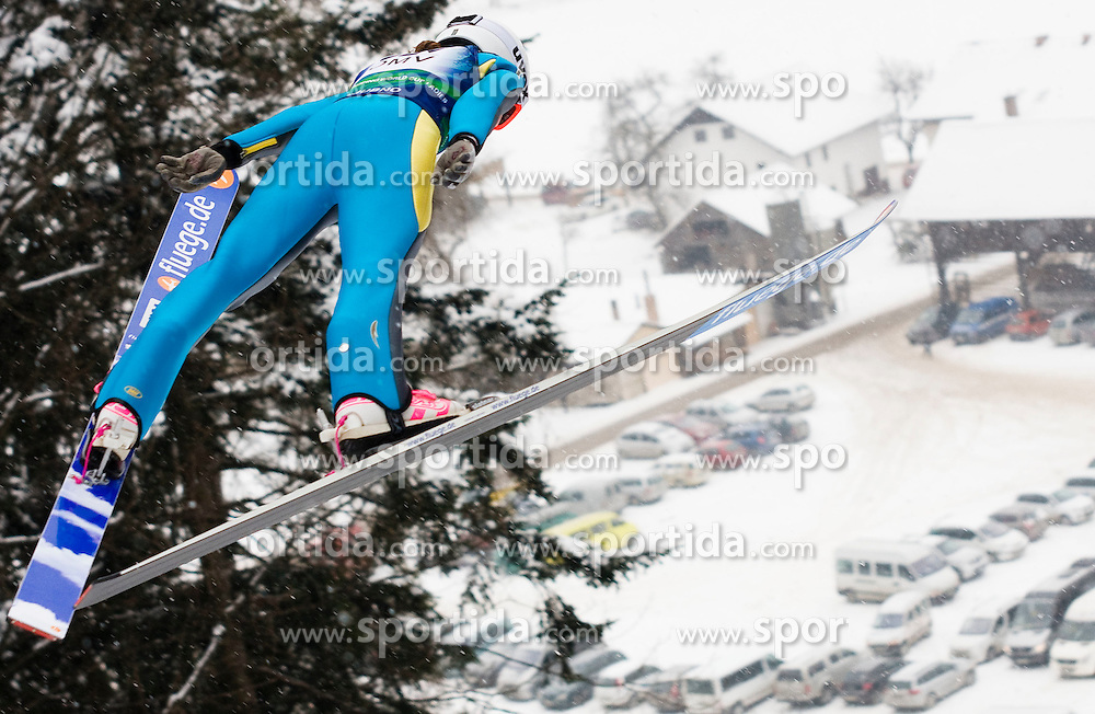 Sarah Hendrickson of US of America during Normal Hill Individual Competition at FIS World Cup Ski jumping Ladies Ljubno 2012, on February 12, 2012 in Ljubno ob Savinji, Slovenia. (Photo By Grega Valancic / Sportida.com)