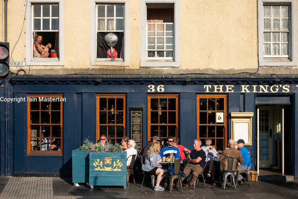 Evening summer sunshine on The King's Park pub on  The Shore  in Leith, Edinburgh, Scotland, UK