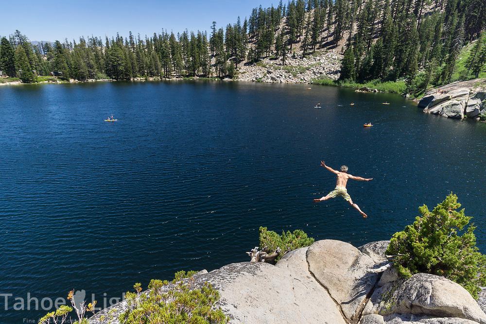 Cliff jumping at Angora Lakes in South Lake Tahoe