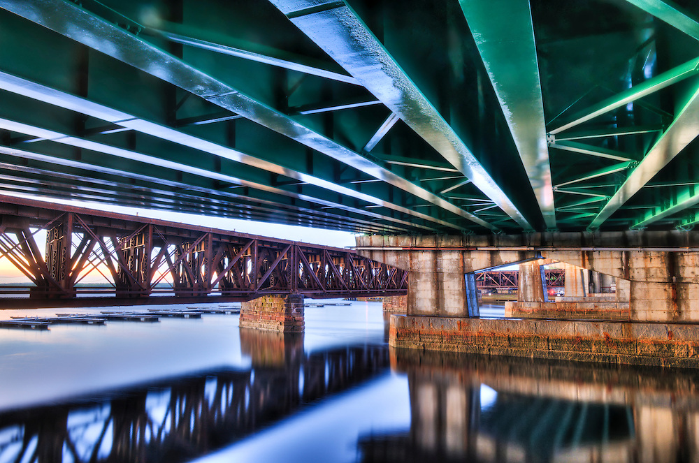 Under the Rt. 1 bridge across the Merrimack River in Newburyport, MA  HDR