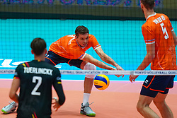 10-08-2019 NED: FIVB Tokyo Volleyball Qualification 2019 / Belgium - Netherlands, Rotterdam<br /> Third match pool B in hall Ahoy between Belgium vs. Netherlands (0-3) for one Olympic ticket / Maarten van Garderen #3 of Netherlands