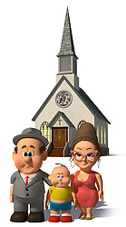 A happy cartoon Family posing in front of a church on a white background. Keyword 'Wilfred' to find more on this character.