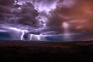 A powerful lightning storm rages through the desert of Arches National Park in Utah.