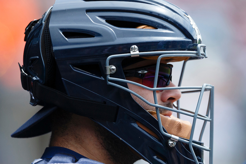 Aug 6, 2015; Detroit, MI, USA; Detroit Tigers catcher Alex Avila (13) in the dugout before the game against the Kansas City Royals at Comerica Park. Mandatory Credit: Rick Osentoski-USA TODAY Sports