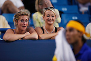 CINCINNATI, OH - AUGUST 20: Two female fans watch Rafael Nadal of Spain during his match against Paul-Henri Mathieu of France during day four of the Western & Southern Financial Group Masters on August 20, 2009 at the Lindner Family Tennis Center in Cincinnati, Ohio. Nadal defeated Mathieu 7-5, 6-2. (Photo by Joe Robbins)