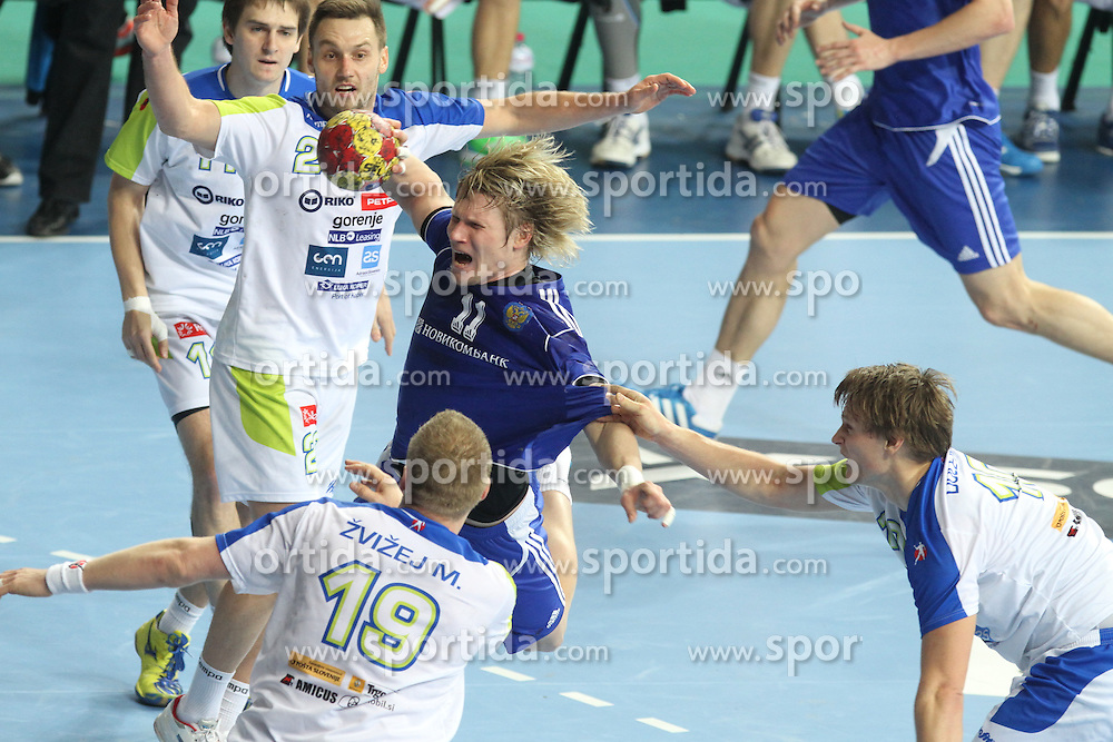12.01.2013 Barcelona, Spain. IHF men's world championship, Quarter-Final. Picture show Sergiy Shelmenko   in action during game between Russia vs Slovenia at Palau ST Jordi
