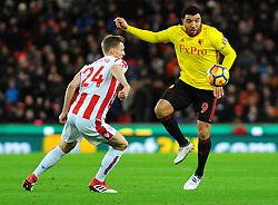 Troy Deeney of Watford battles with Darren Fletcher of Stoke City - Mandatory by-line: Nizaam Jones/JMP - 31/01/2018 - FOOTBALL - Bet365 Stadium - Stoke-on-Trent, England - Stoke City v Watford - Premier League