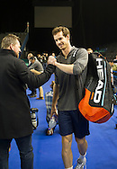 Britain's Andy Murray pictured arriving for the Davis Cup Practise Day at Birmingham Indoor Arena, Birmingham<br /> Picture by Anthony Stanley/Focus Images Ltd 07833 396363<br /> 03/03/2016