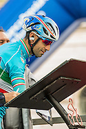 Vincenzo Nibali on the signature ckeck podium of Il Lombardia 2015 Bergamo - Como