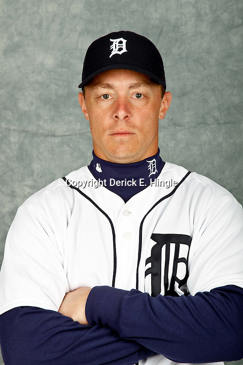 February 28, 2012; Lakeland, FL, USA; Detroit Tigers third baseman Brandon Inge (15) poses for photo day in the rec room at the Detroit Tigers Headquarters.  Mandatory Credit: Derick E. Hingle-US PRESSWIRE
