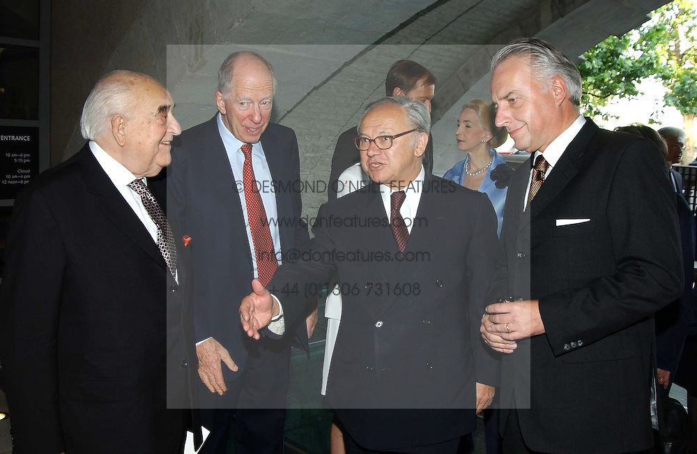Left to right, LORD WEIDENFELD, LORD ROTHSCHILD,  HUBERT BURDA and ? at the opening of 'Princely Splendour; The Dresden Court 1580-1620' a new temporary exhibition at The Gilbert Collection, Somerset House, London sposored by Hubert Bruda Media, The Schroder Family and WestLB AG on 8th June 2005.<br /><br />NON EXCLUSIVE - WORLD RIGHTS